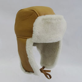 Wholesale cheap warm shearling trapper sheepskin hat